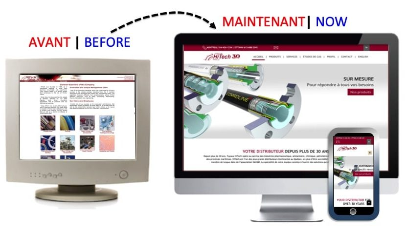 Professional website design for HiTech Piping : BEFORE AND AFTER