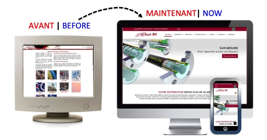HITECH PIPING BEFORE AND AFTER WEBSITE DESIGN